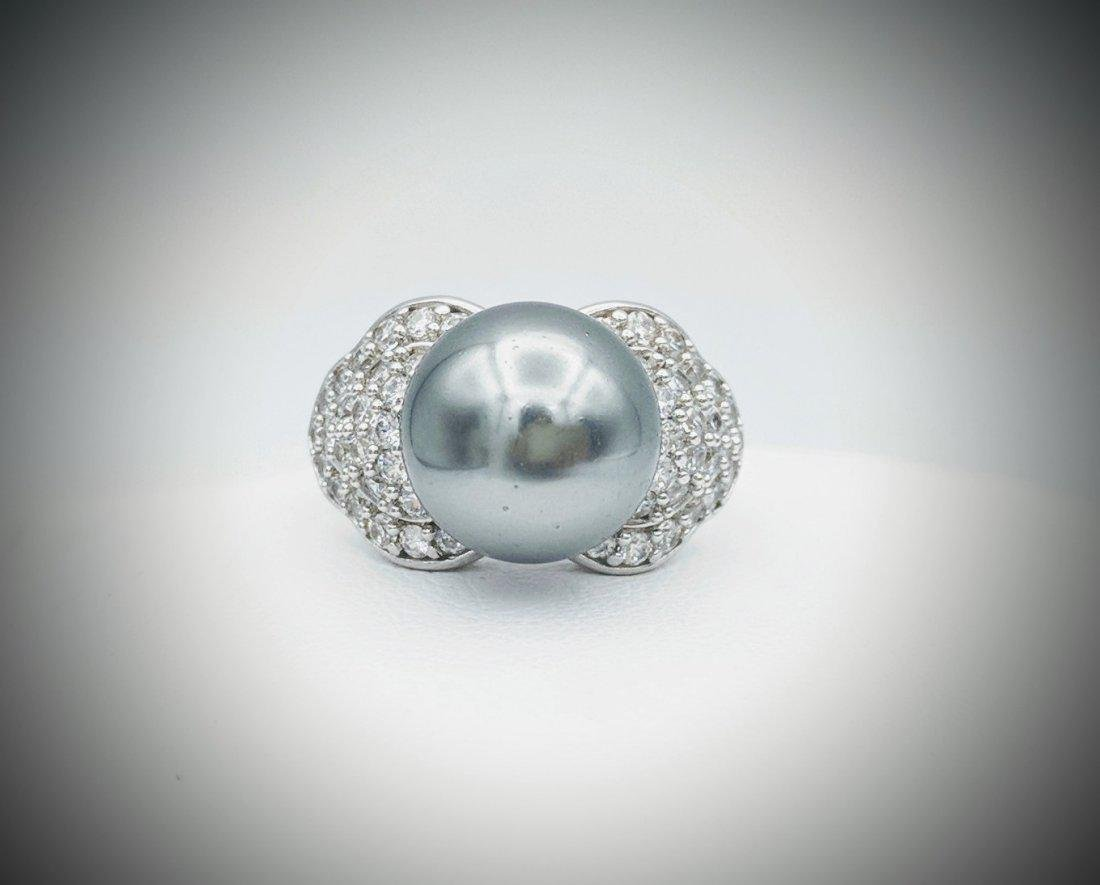 Sterling Silver Gray Pearl and Cubic Zirconia Ring