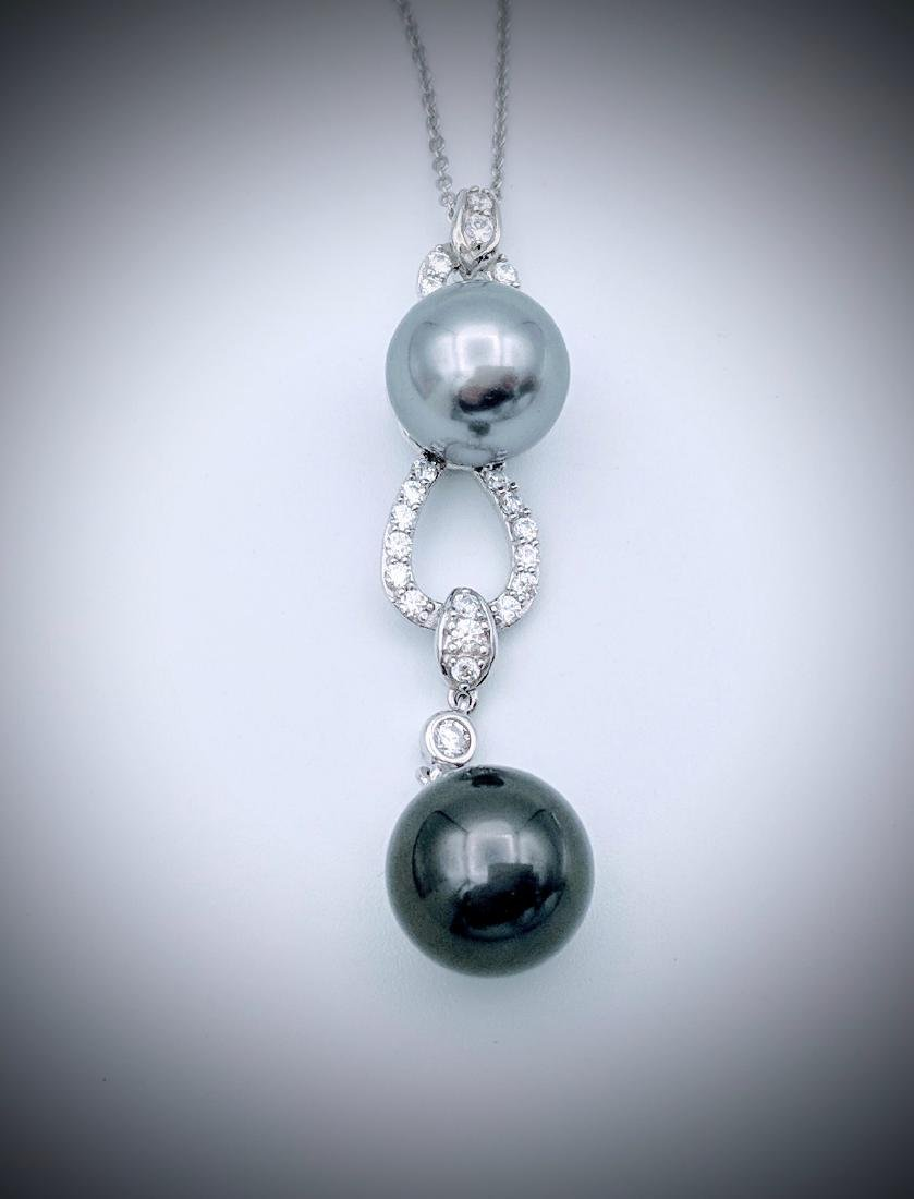 Sterling Silver Double Gray Pearl CZ Necklace