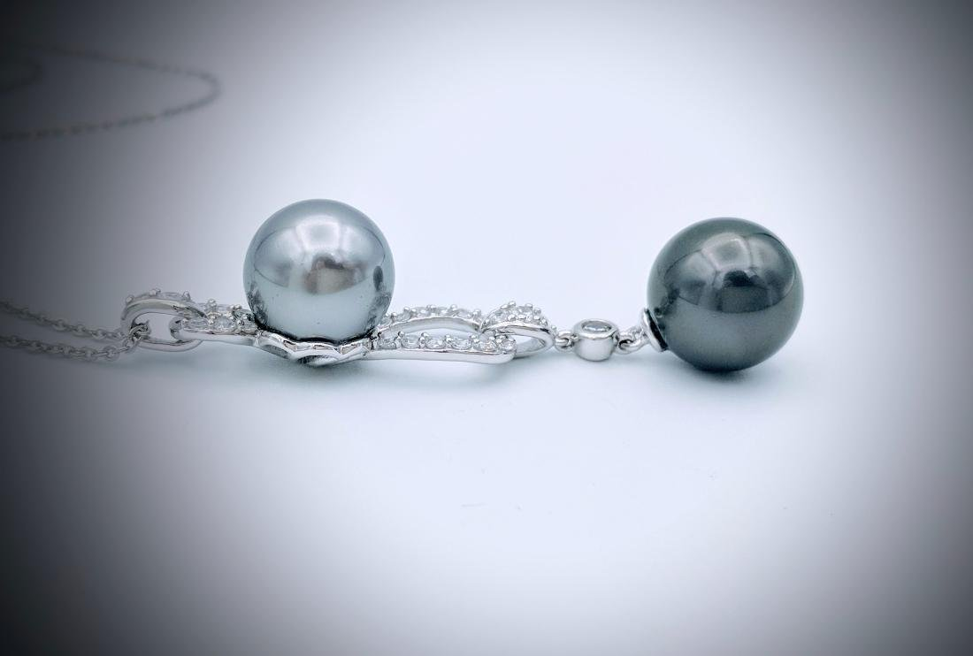 Sterling Silver Double Gray Pearl CZ Necklace - 2