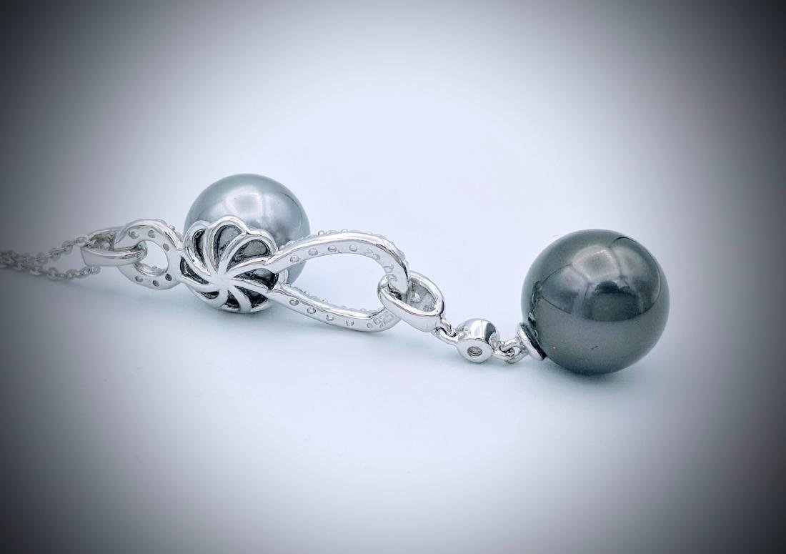 Sterling Silver Double Gray Pearl CZ Necklace - 3