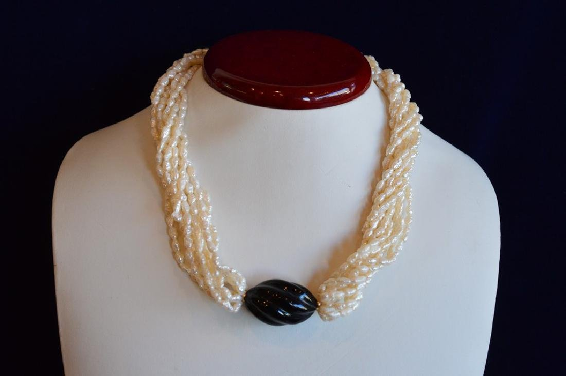 Ladies 10 Strand Seed Pearl Choker with Black Accent