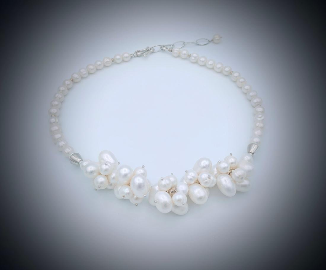 Sterling Silver Clustered Pearl Necklace with extension