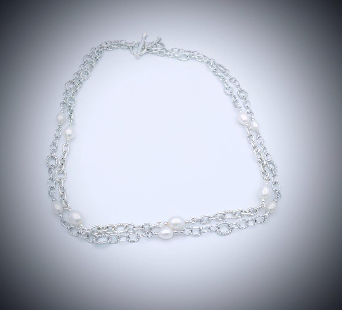 Sterling Silver Double Chained Pearl Necklace