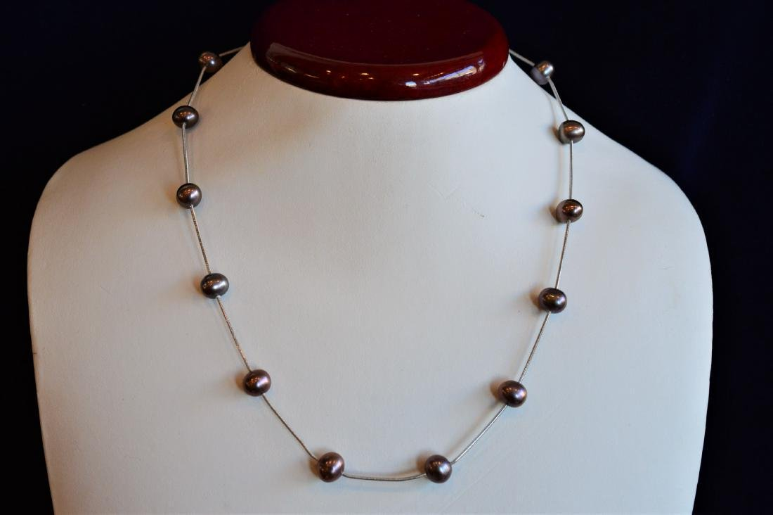 14k White Gold Snake Chain Floating Pearls Necklace