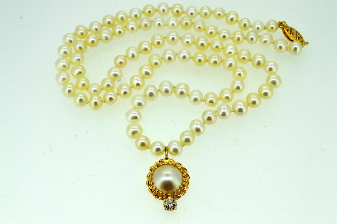 14K Gold Freshwater Pearls Mobe Pearl Drop Necklace
