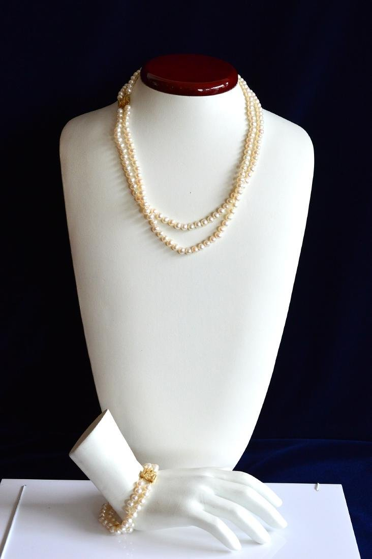 Double Strand Pearl Necklace with Matching bracelet