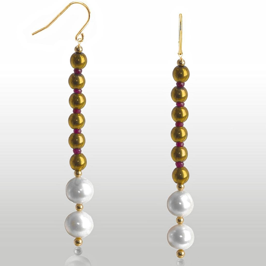 14kt Gold 'Line' Earrings with Pearls and Rubies
