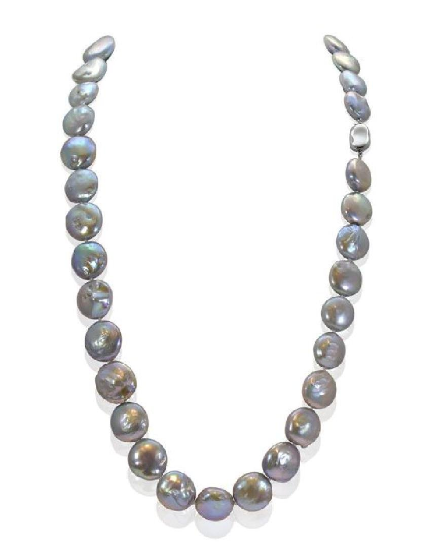 Long Baroque Freshwater Pearl Necklace Completed with a
