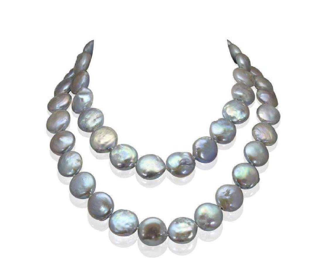 Long Baroque Freshwater Pearl Necklace Completed with a - 5