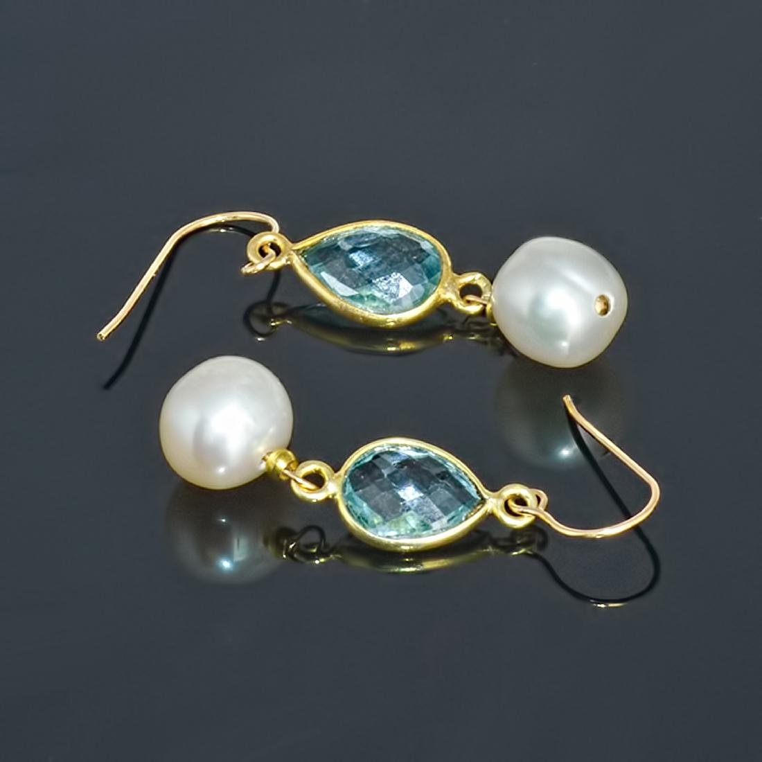 14kt Gold Earrings with Pearls and Sky Blue Topazes