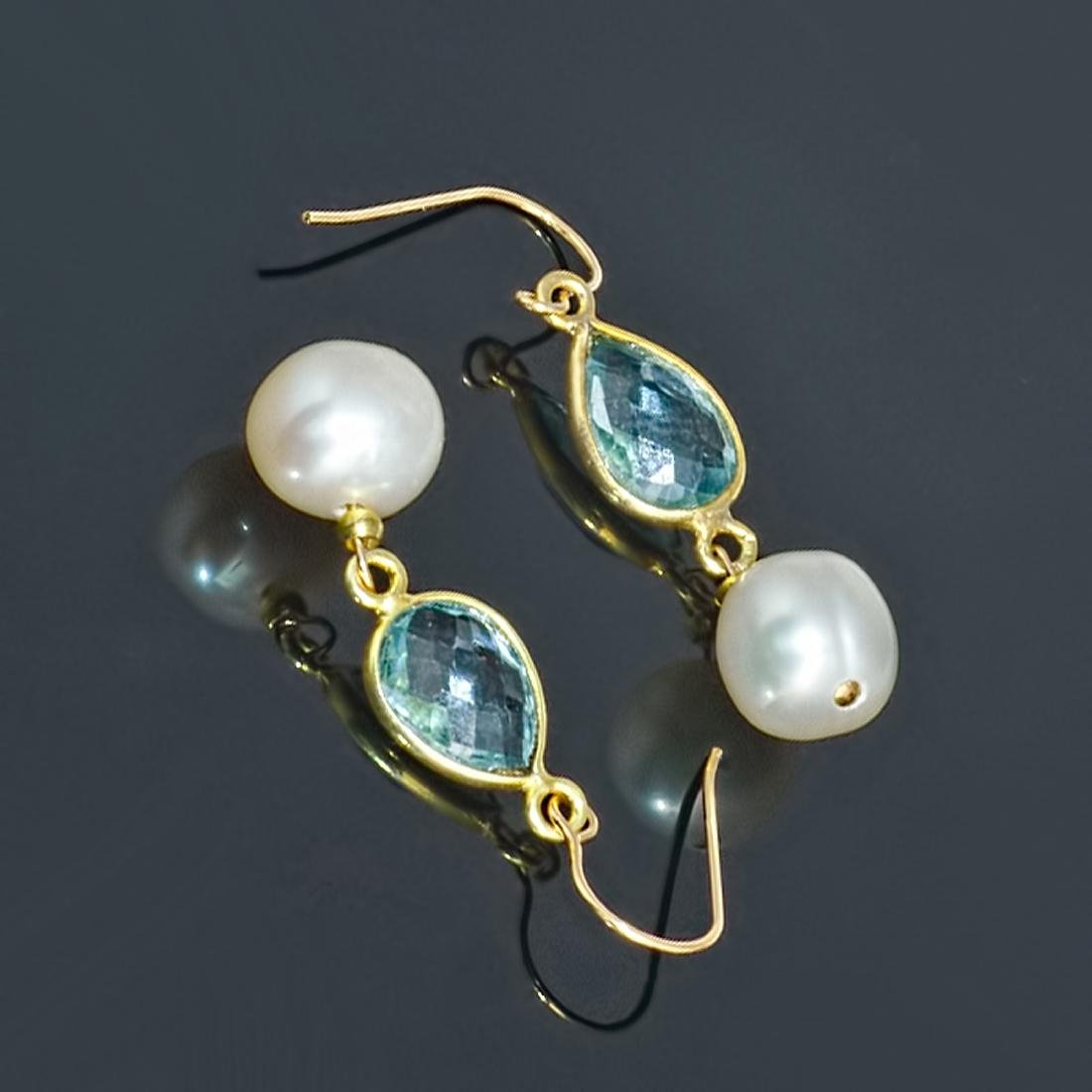14kt Gold Earrings with Pearls and Sky Blue Topazes - 3