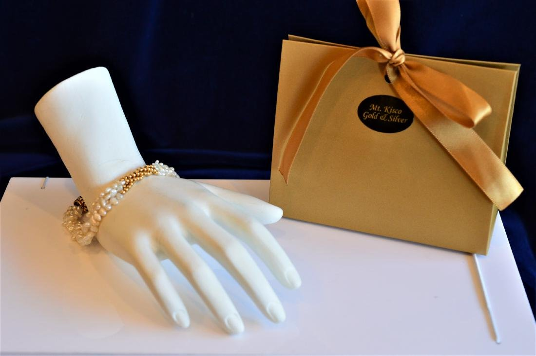 14K Gold Four Strand Petite Seed Pearl Bracelet