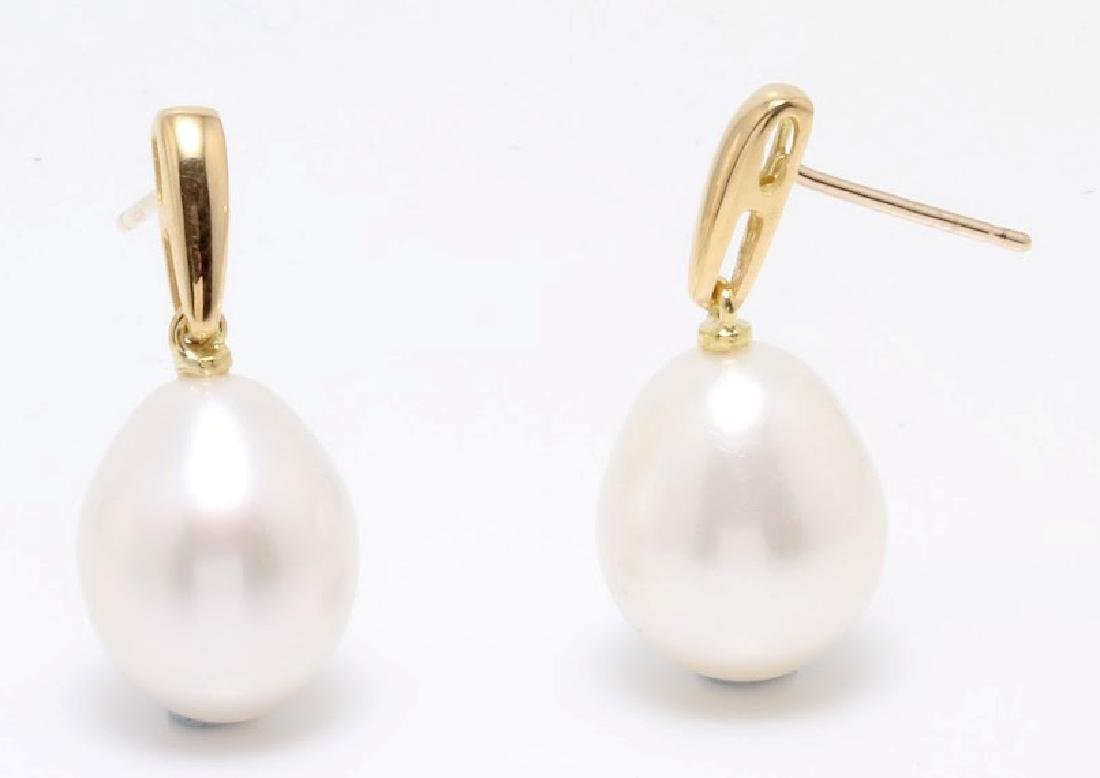 18K Yellow Gold Earrings Featuring 11x12mm Lustrous