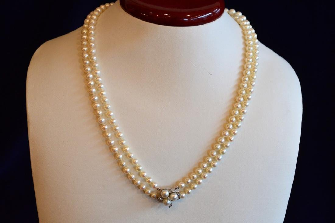 """Ladies 20"""" Double Strand Graduated Akoya Pearl Necklace"""
