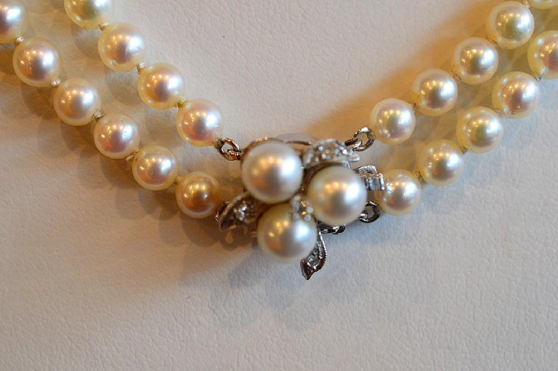 """Ladies 20"""" Double Strand Graduated Akoya Pearl Necklace - 2"""