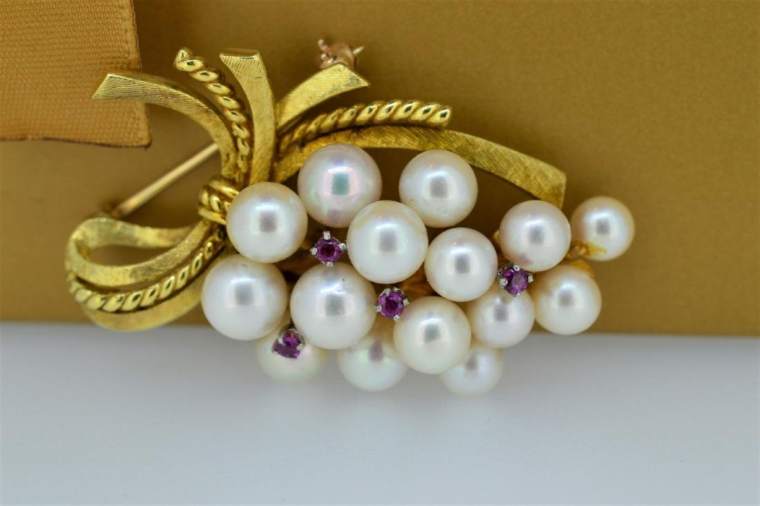 Ladies 14k Yellow Gold/Pearl Pin with Ruby Accents