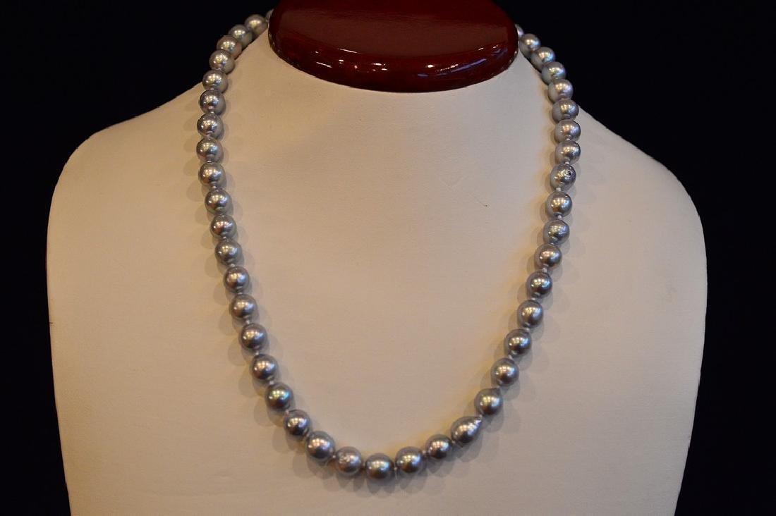 "Ladies 18"" Natural Gray Akoya Pearls with 14k Gold"