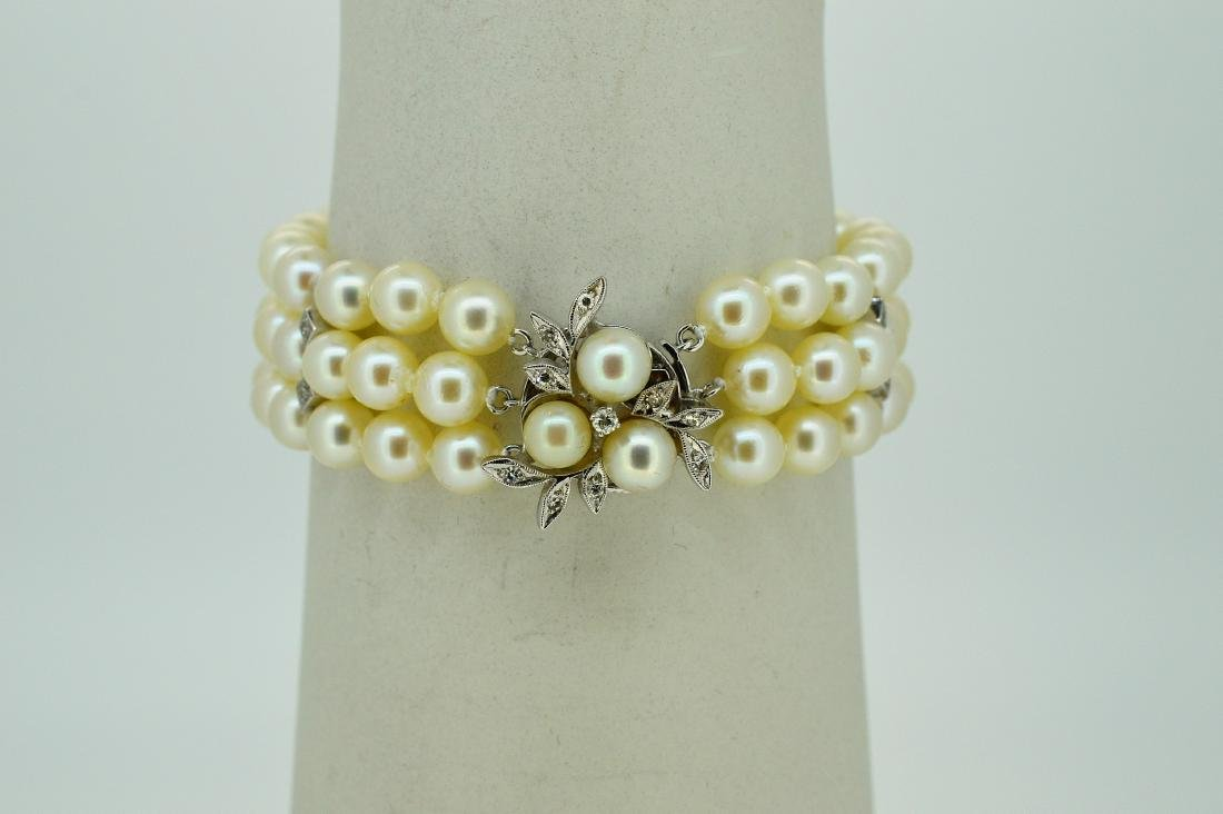 White Gold Akoya Triple Strand Pearl Diamond Bracelet