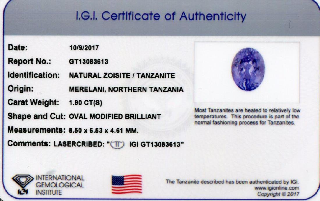 1.9 Carat Loose Oval IGI Certified Tanzanite - 8