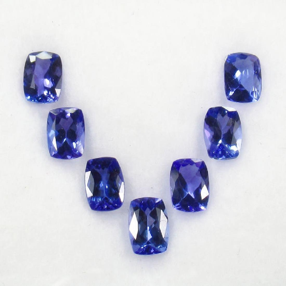 6.35 Carat IGI Certified 7 Loose Tanzanites Cushion