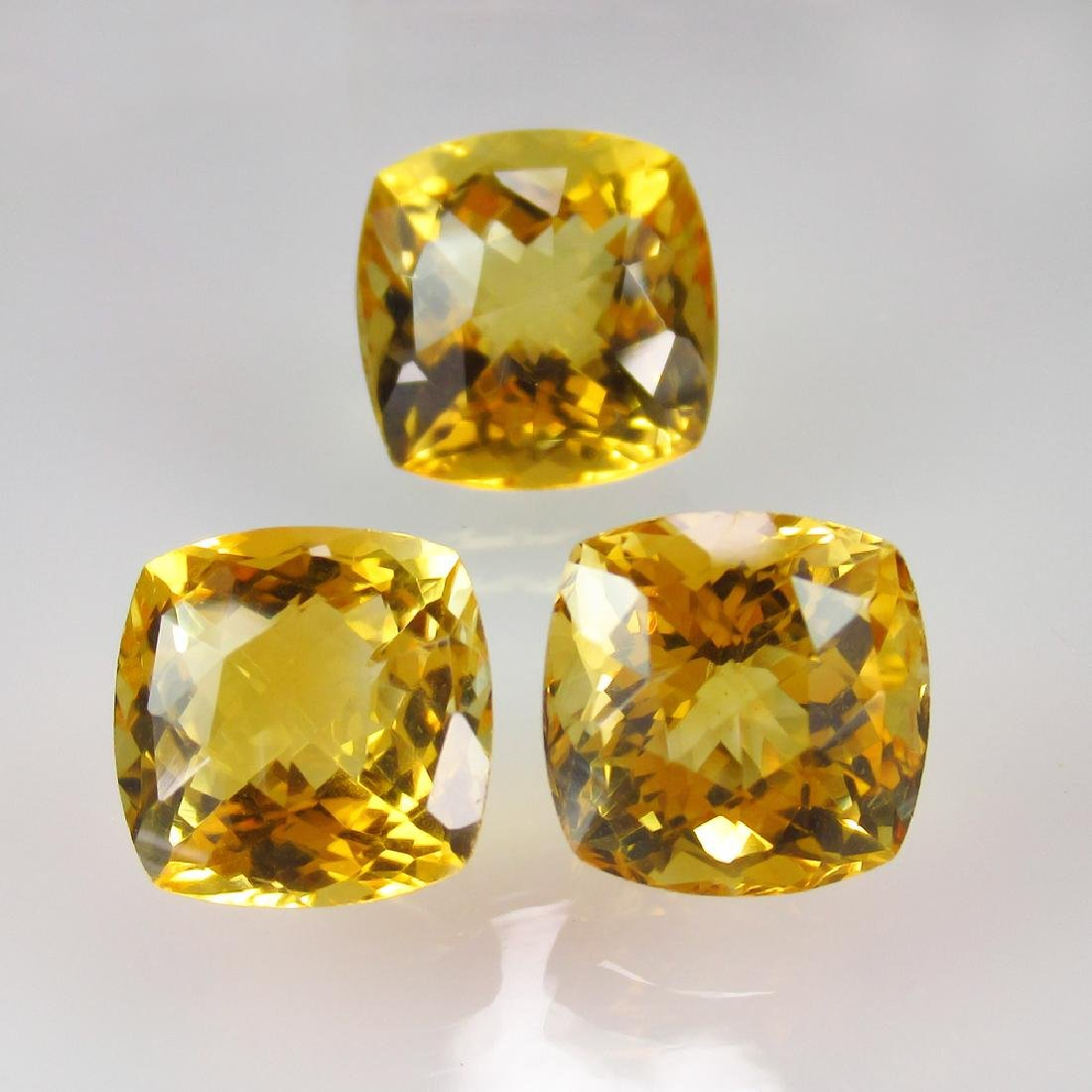20.86 Carat Natural 3 Loose Citrine Cushion Set