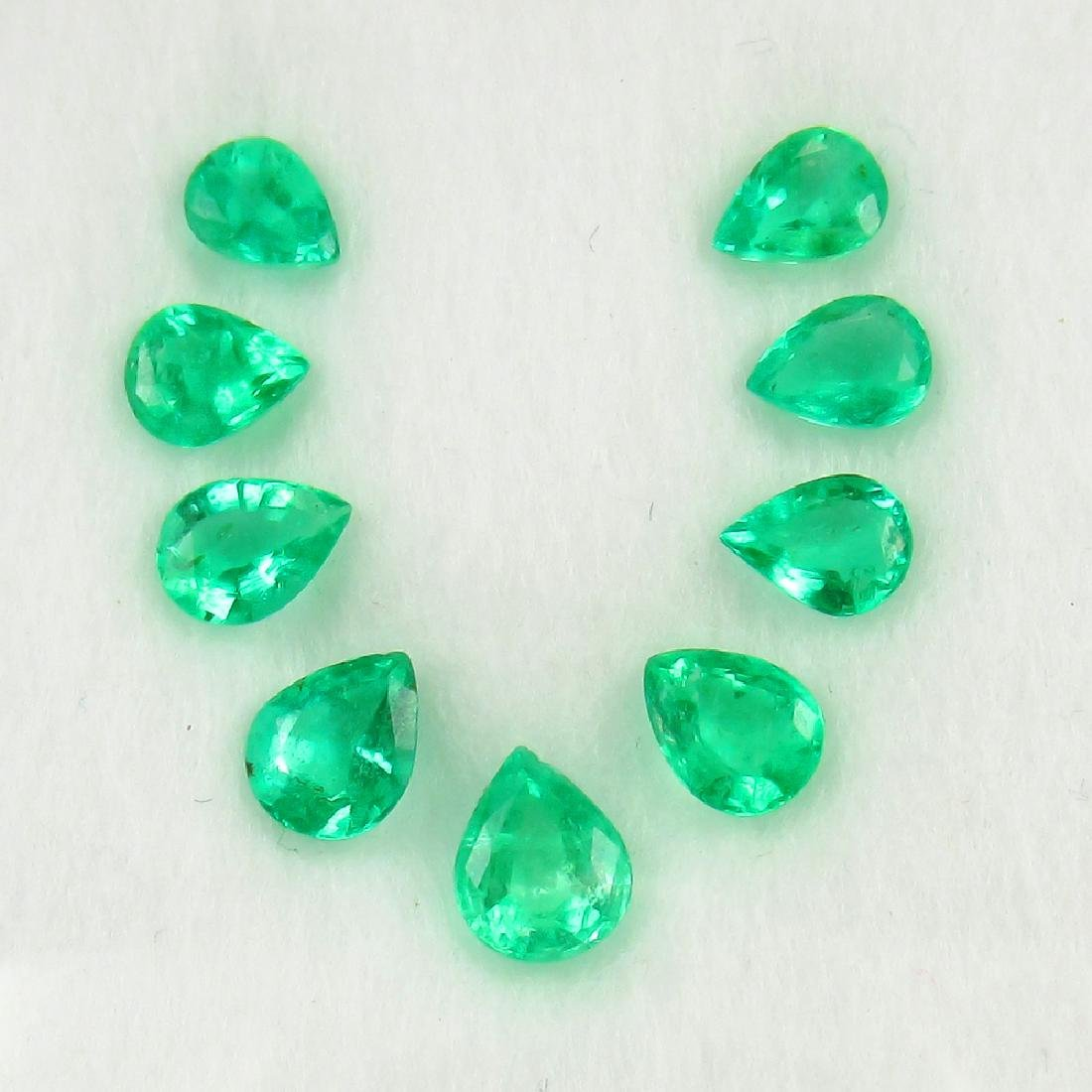 1.91 Carat Natural 9 Loose Emerald Pear Necklace Set