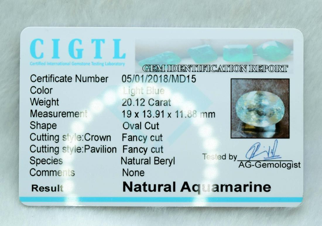 20.12 Carat Certified Natural Aquamarine Loose - 3
