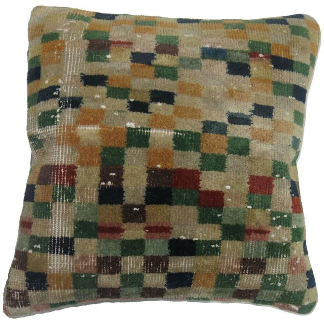 Turkish Checkerboard Rug Pillow 19''x20'