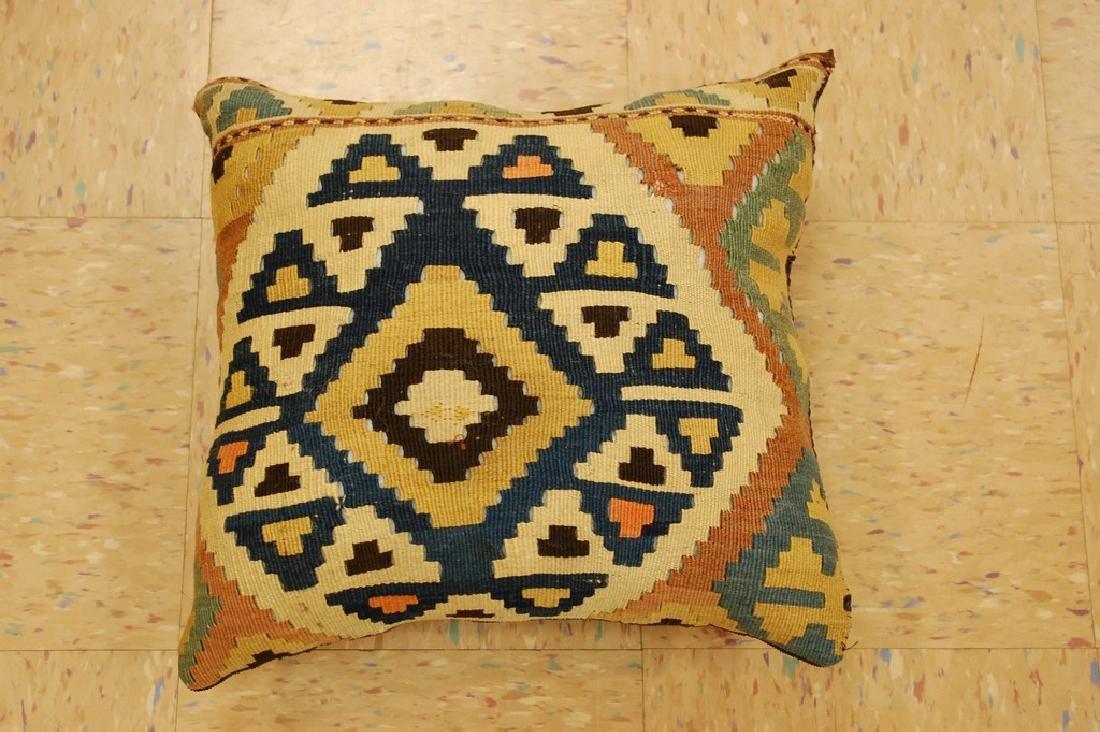 Antique Hand Made Caucasian Pillow Cushion Rug 1.4x1.4