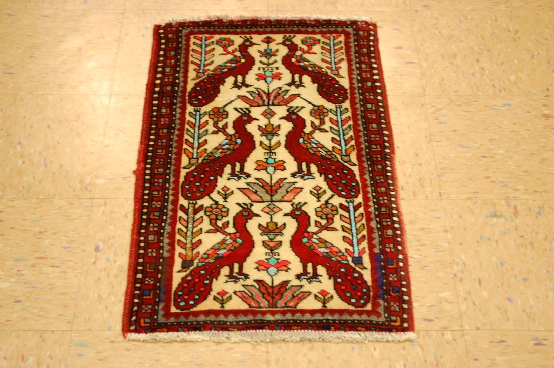 Bird Subject Design Persian Balouch Rug Runner 1.7x2.10