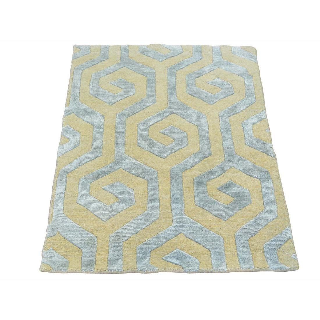 Wool and Silk Modern Rug Geometric Design Hand 2x2.10