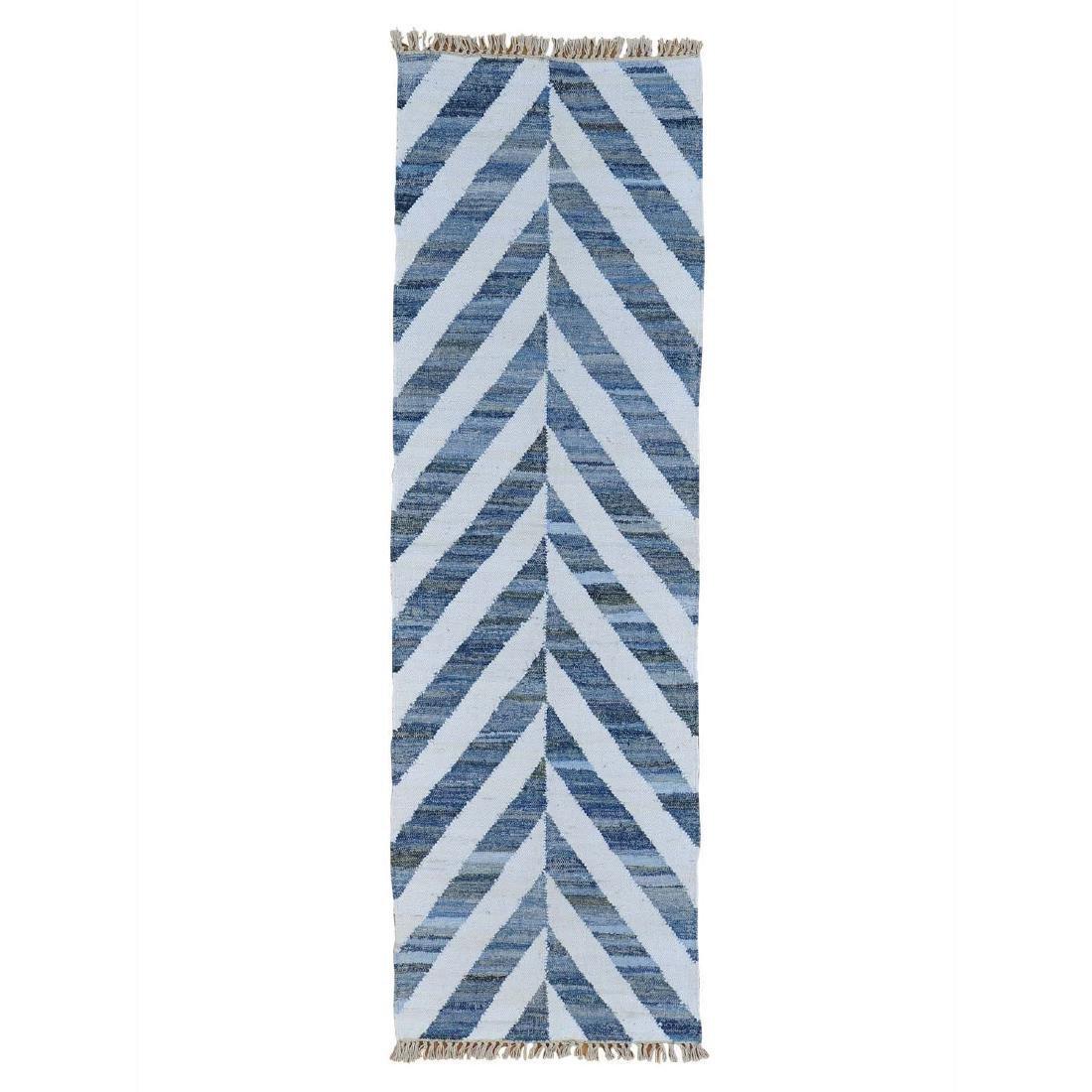 Runner Handmade Durie Kilim Denim Jeans Rug 2.7x8.3