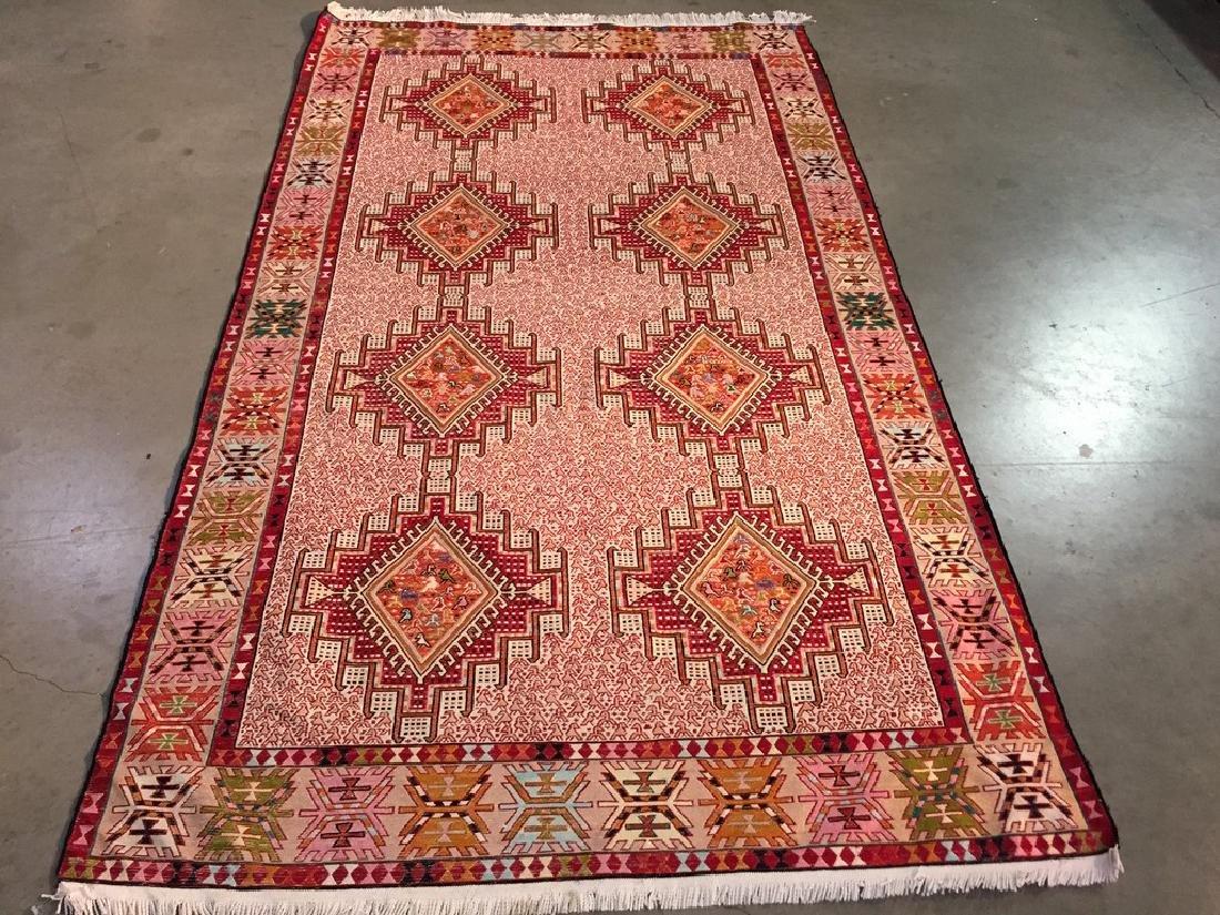 Persian Silk Kilim Rug 4x7