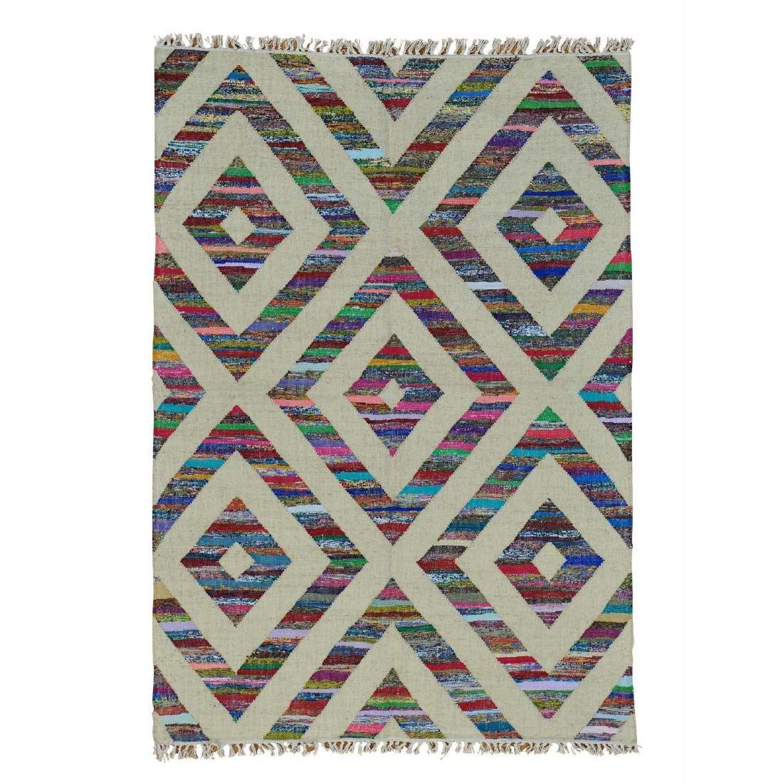 Durie Kilim Wool & Sari Silk Flat Weave Rug 5x7.2