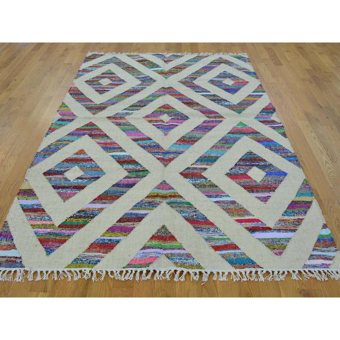 Durie Kilim Wool & Sari Silk Flat Weave Rug 5x7.2 - 2