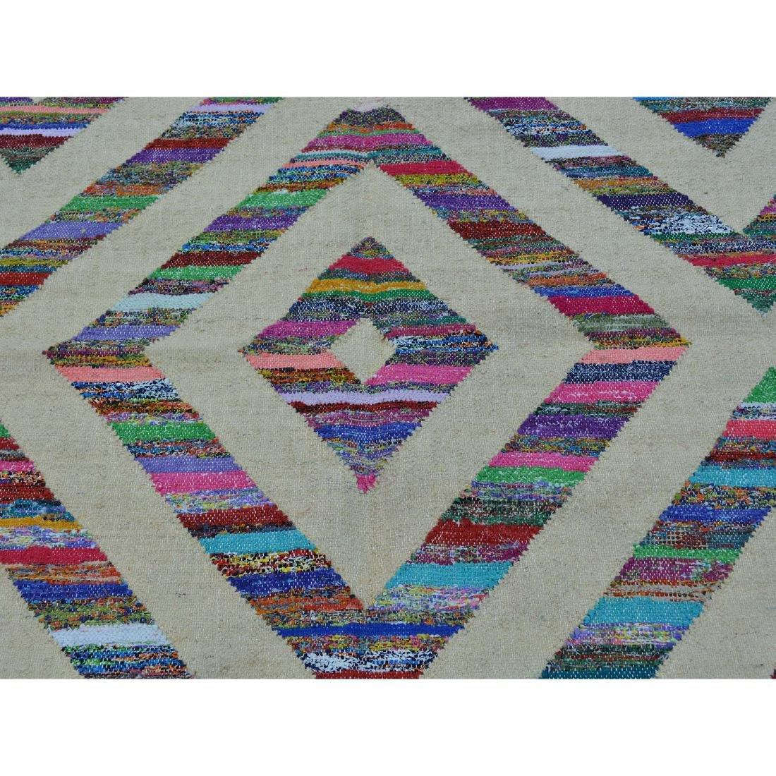 Durie Kilim Wool & Sari Silk Flat Weave Rug 5x7.2 - 4