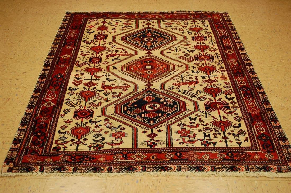 Persian Shiraz Fyrdoos Folklore Animal Rug 5.6x6.10