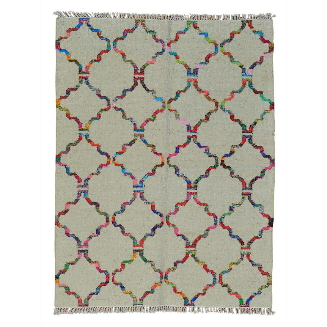 Durie Kilim Wool & Sari Silk Hand Woven Rug 5.2x7.1