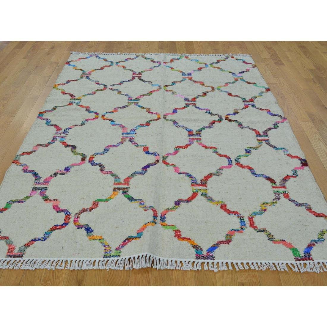 Durie Kilim Wool & Sari Silk Hand Woven Rug 5.2x7.1 - 2