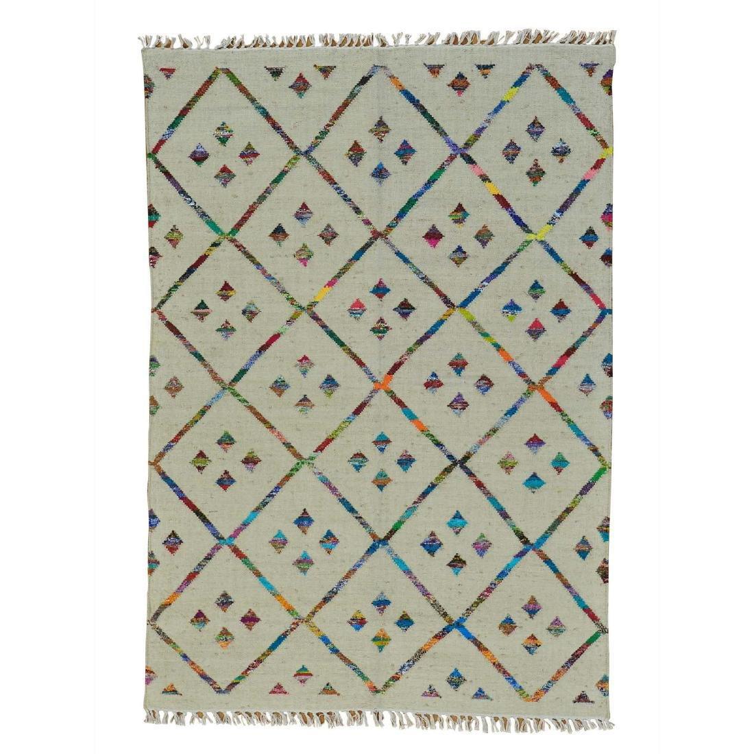 Handmade Geometric Durie Kilim Rug Wool and 5x7.4