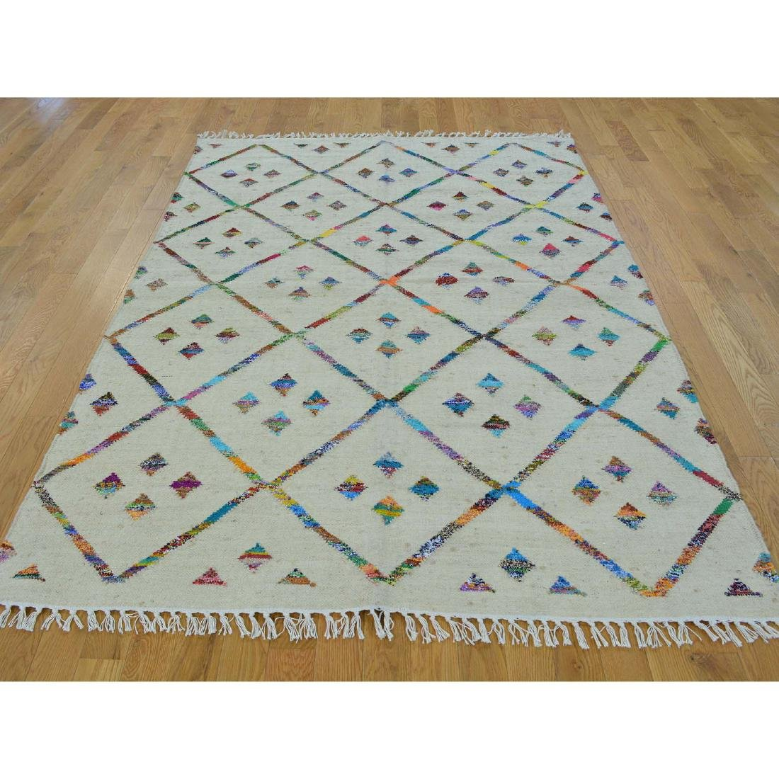 Handmade Geometric Durie Kilim Rug Wool and 5x7.4 - 2