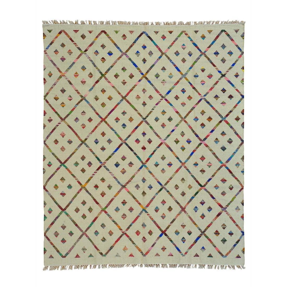 Hand Woven Flat Weave Wool Sari Silk Durie Rug 8.1x9.10