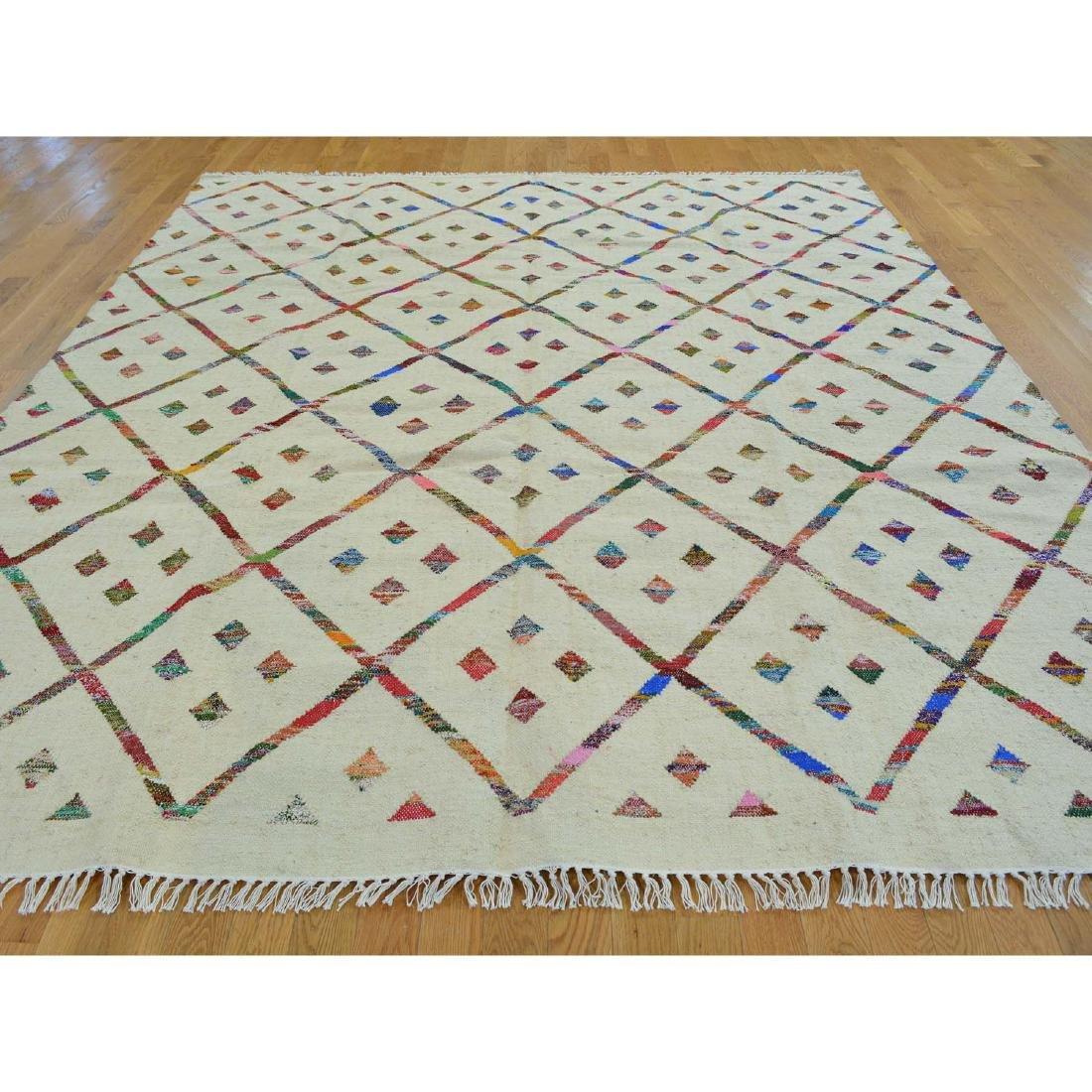 Hand Woven Flat Weave Wool Sari Silk Durie Rug 8.1x9.10 - 2