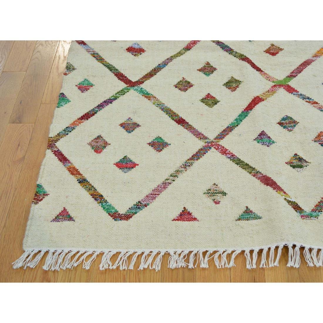 Hand Woven Flat Weave Wool Sari Silk Durie Rug 8.1x9.10 - 3