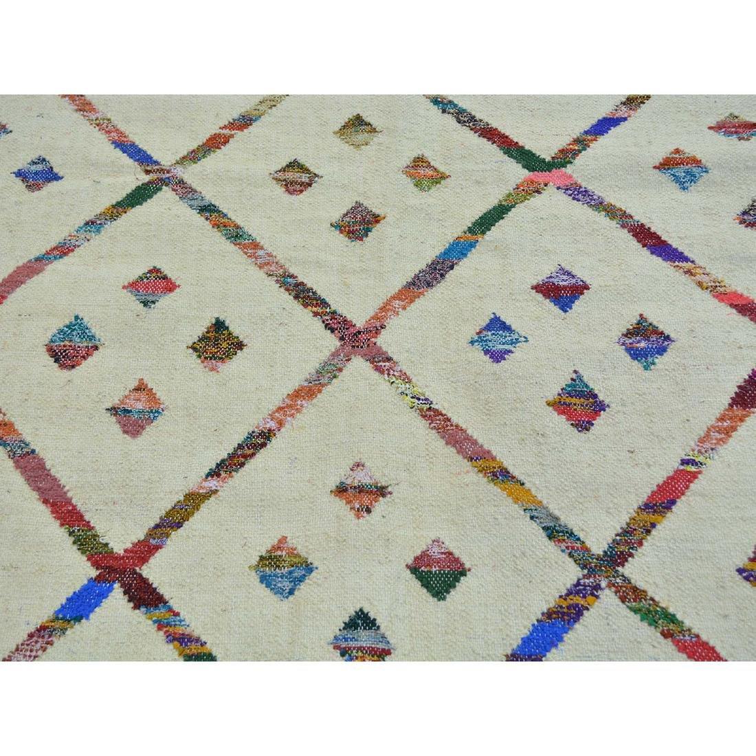 Hand Woven Flat Weave Wool Sari Silk Durie Rug 8.1x9.10 - 4