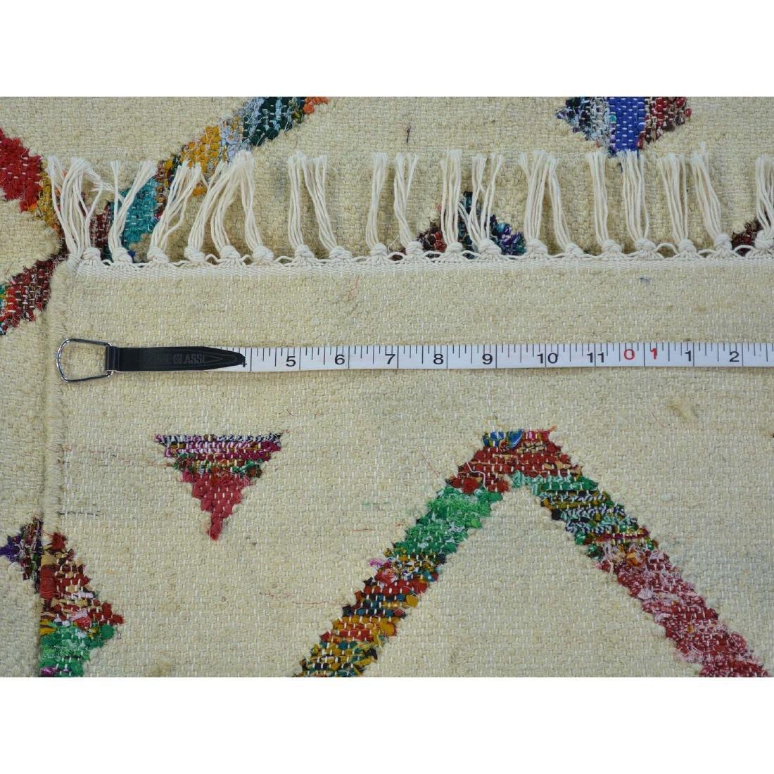Hand Woven Flat Weave Wool Sari Silk Durie Rug 8.1x9.10 - 5