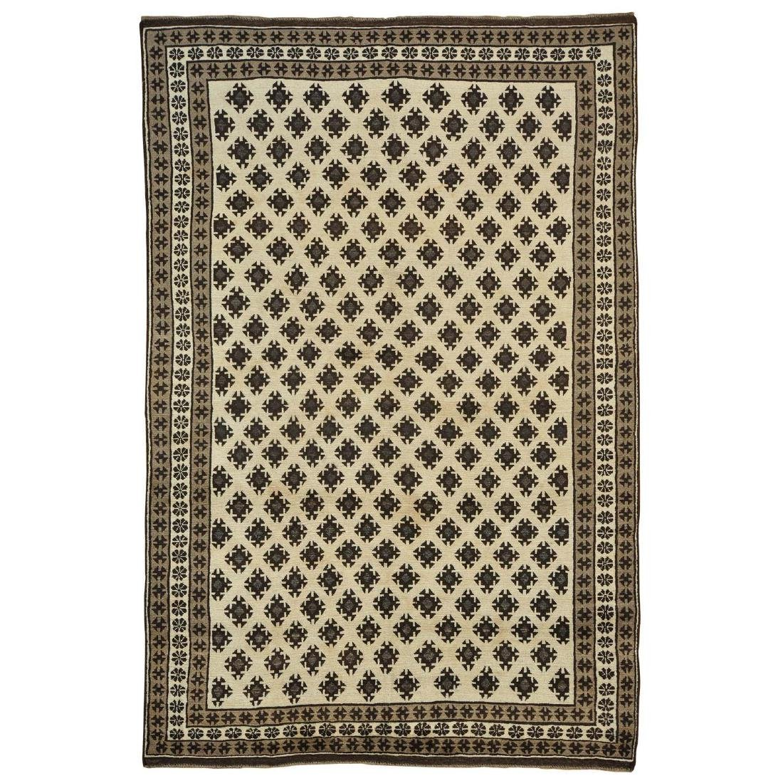 Ivory Undyed Natural Baluch Rug Hand Knotted 6.8x10.1