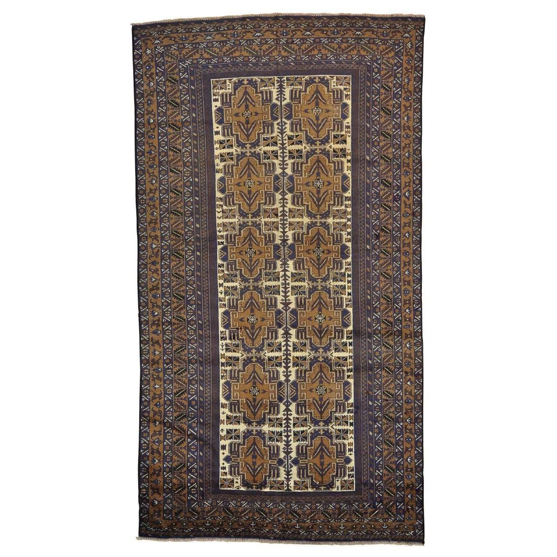 Ivory Afghan Baluch Oriental Rug Hand Knotted 5.7x10.2