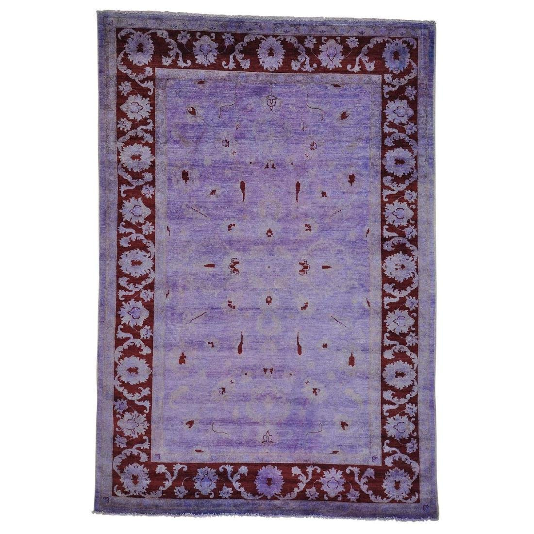 Purple Overdyed Peshawar Hand Knotted Rug 6.8x9.1