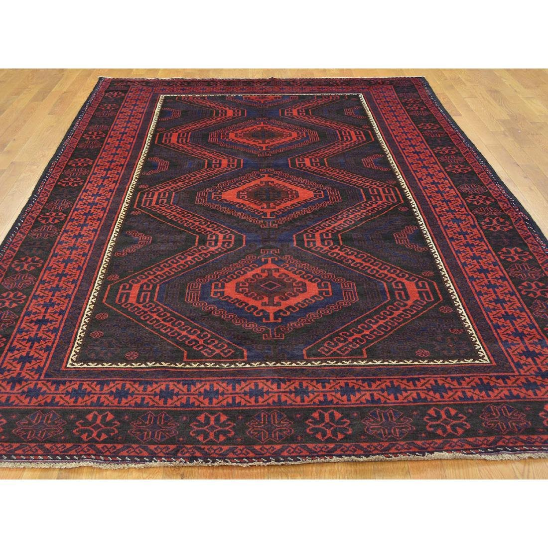 Tribal Design Persian Baluch Hand Made Rug 6.7x10.8 - 2